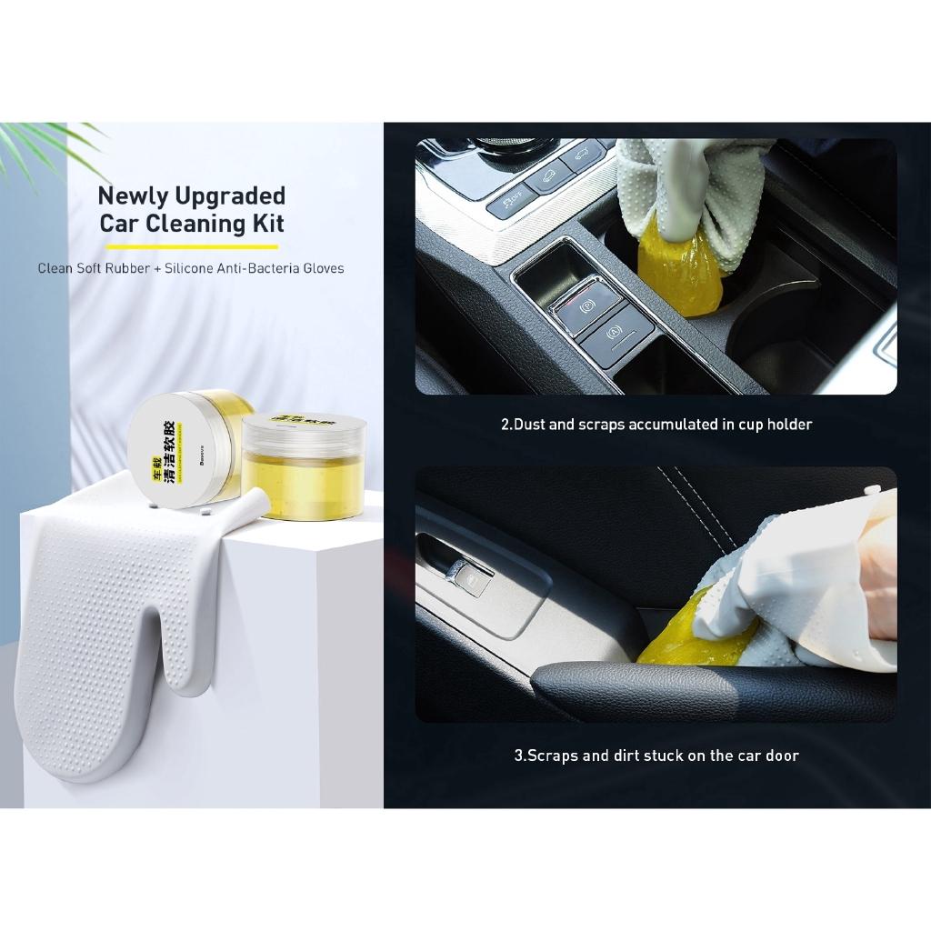Bộ dụng cụ vệ sinh xe hơi BASEUS Car Cleaning Kit kèm găng tay silicon 3